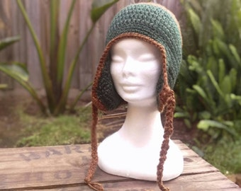 Green & Brown Ear Flap Beanie