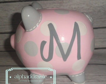 "SMALL pink and grey polka dot, artisan hand painted ceramic personalized custom piggy bank 5"" chevron ears"