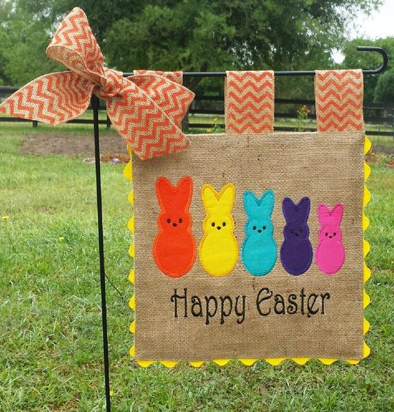 Custom Burlap Garden Flag Easter Family Embroidery