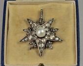 Spectacular Victorian natural Persian pearl and 4.50 Ct diamond rare star pendant