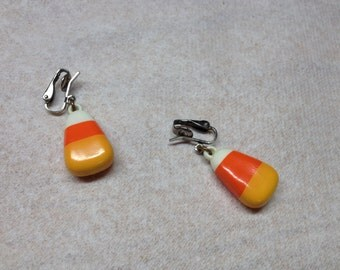 Vintage Candy Corn Design Clip On Earrings