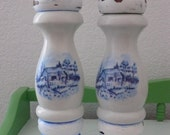 Vintage Wood and Ceramic Pepper Mill and Salt Shaker Blue and White Farm House Shabby Chic Homestead Distressed Pepper Grinder Set