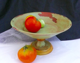 Vintage Wood Pedestal Bowl  Wood Bowl Shabby Chic Rustic Green Walnut wood Bowl