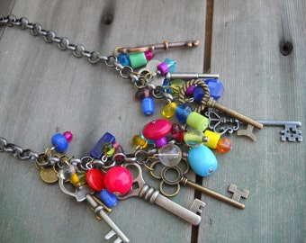 Color is Key Necklace/Statement Necklace/Boho/Hippie/Rainbow/Industrial/Charm
