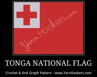 Tonga National Flag - Afghan Crochet Graph Pattern Chart - Instant Download