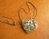 Vintage Filigree Sterling Silver Heart Locket with Birds