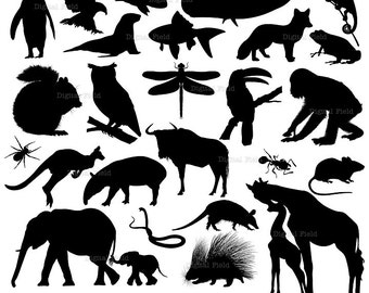 Animal silhouette clip art set 2 - wild animal printable digital clipart - instant download