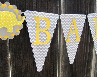 Gender Neutral Baby Shower Yellow and Grey Baby Shower Banner, Baby Shower Decorations, Gray and Yellow