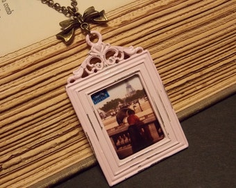 Pink and Bronze Photo Frame Necklace