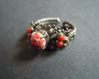 Red and Bronze Filigree Ring Vintage