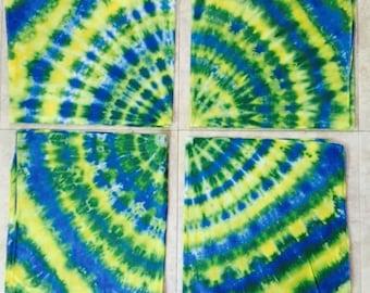 Tie dyed cotton bandanas