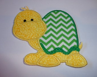 """4.0"""" Green and White Chevron Turtle Iron On Patch"""