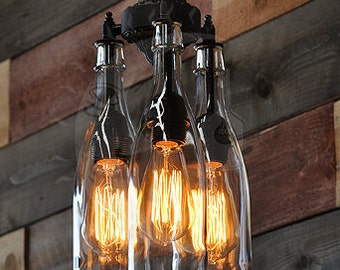 Recycled Bottle Chandelier - The Marquis Clear