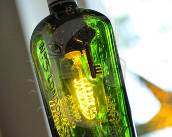 Recycled No3 Gin Bottle Lamp with Edison Lightbulb