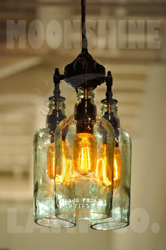 Recycled bottle chandelier the marquis gin - Glass bottle chandelier ...