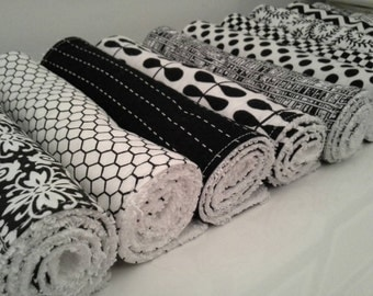 Set of 10 Burp Cloths - Black and White Patterns