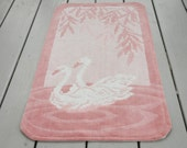Vintage Chenille Throw Rug Swans Pink