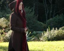 100% Wool Pirate coat with Possum fur trim