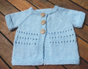 cute little baby hand knitted short sleeve cardigan/sweater shimmering blue 0-3 month