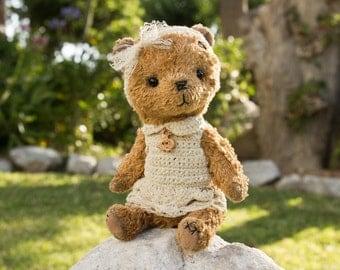 Artist Teddy Bear Mary. Handmade OOAK. Teddy bear-girl in a dress
