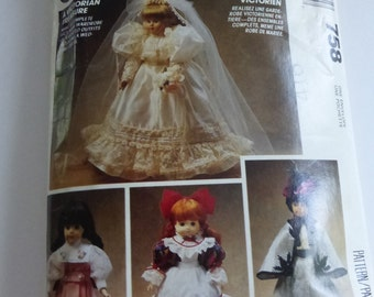 "Vintage McCalls Crafts Pattern 758 Victorian Doll Wardrobe Fits Dolls 13"" 14"" and 16"""