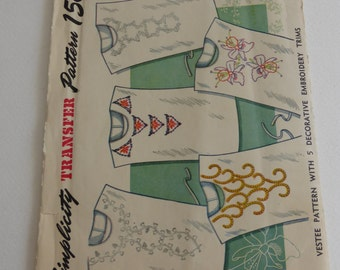 Antique Simplicity Pattern 7286 Vestee Pattern with 5 Decorative Embroidery Trims