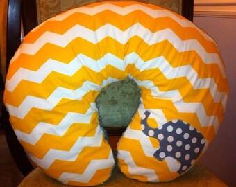 Yellow chevron elephant nursing pillow cover