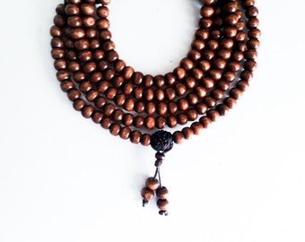 219 Wooden Mala Beads Handmade Necklace with Horse Chessnut Seed