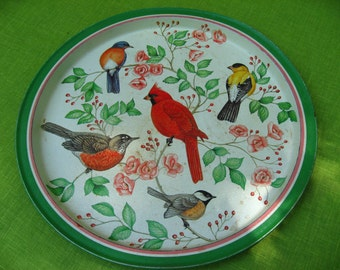 vintage bird tray platter serving cocktails outdoor round cardinal