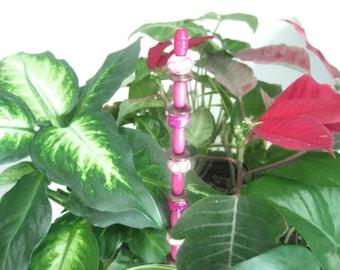 Pink Bead Plant Ornament - Indoor Garden Decor - Baby Shower Plant Decoration - Flower Pot Stake - Beaded Indoor Garden Art