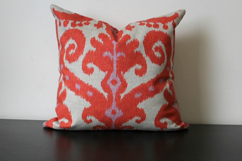 Decorative Throw Pillow Ikat Pillow Cover Burnt Red Orange