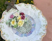 BROKEN CHINA MOSAIC Bird Bath- Cast Iron Birdbath - Vintage China Mosaic- Mosaics- Limoges China-