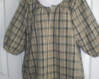 Peasant Blouse upcycled from a men's shirt 54 inch chest, yellow and grey plaid with elbow length sleeves, ladies X large