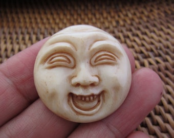 Excellent Hand carved  Funny Face, happy moon face Carved bone cabochon, Bone carving, Jewelry making Supplies B5134