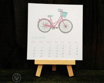 Mini Desk Calendar - Bike and Blossom Design