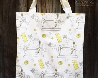 Hand made Tote Bag. Sewing Machine Tote Bag.