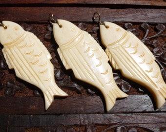 Vintage 1970 Rescued Carved Bone Fish Pendant