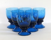 Blue Goblets (6) - Pedestal Glassware - Set of Six Heavy-Duty Glasses - Thick Water - Drinking Mugs - Cocktails - Vintage Home Kitchen Decor