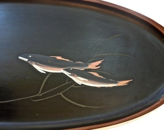 """Asian Wood Tray Oval Black Lacquer 21"""" with Hand Painted Fish Koi, Feng Shui, Display Art"""