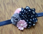 SALE! Navy Polka Dot Flower Headband - Navy, Pink and Grey Headband - Newborn Baby Girl Headband - Flower Headband - Photo Prop