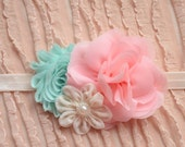 Soft Pink, Mint and Ivory Headband, Newborn Headband, Toddler-Adult Headband, Shabby Chic Flower Headband, Bridesmaid Headband, Easter