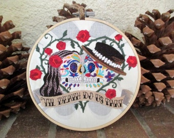 Love Goth Skulls Embroidered Bamboo Hoop Art 6""