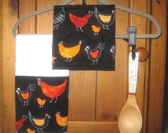 Hand Painted Wooden Spoon Towel Pot Holder Set