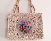 Vintage Floral Needlepoint Handbag / Braided Straw Bag Purse / Colorful Floral Needlepoint Purse - 1960s