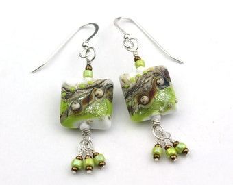 Spring Green, White, and Brown Artist Lampworked Glass Bead Sterling Earrings