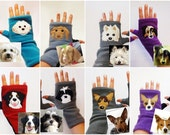 Personalized One Dog Gift. Custom Dog Walking / Training Fingerless Gloves.