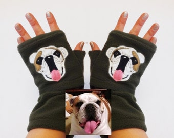 Your Bulldog Personalized Fingerless Gloves with Pockets. Gift for Dog Lovers.