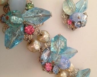 1950s Vintage CLUSTER Bracelet & Matching CLIP ON Earrings Beads Pearls Demi Parure Deadstock