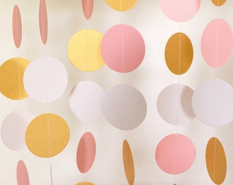 Pastel Pink / Gold / White Paper Garland, Pink Wedding Decor, Birthday Party Decor, Bridal Shower, Baby Shower Decorations, 10 feet long
