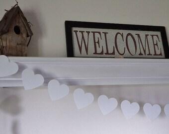 Wedding Garland, White Heart Garland, White Wedding Decor,  Bridal Shower Decorations, Baby Shower Decor, 10 ft. long